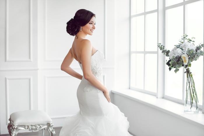 Braut mit Standesamt Brautkleid im Meerjungfrau-Stil