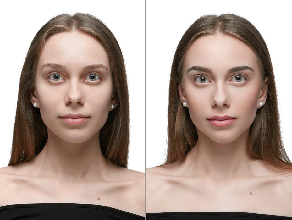 Braut mit natürlichen Braut Make-Up Voher / Nachher